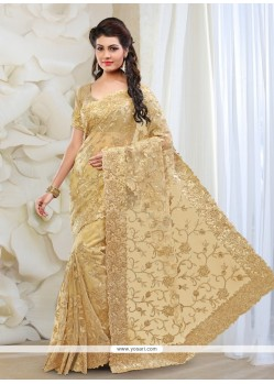 Affectionate Net Beige Patch Border Work Classic Designer Saree