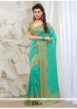 Heavenly Turquoise Silk Classic Designer Saree