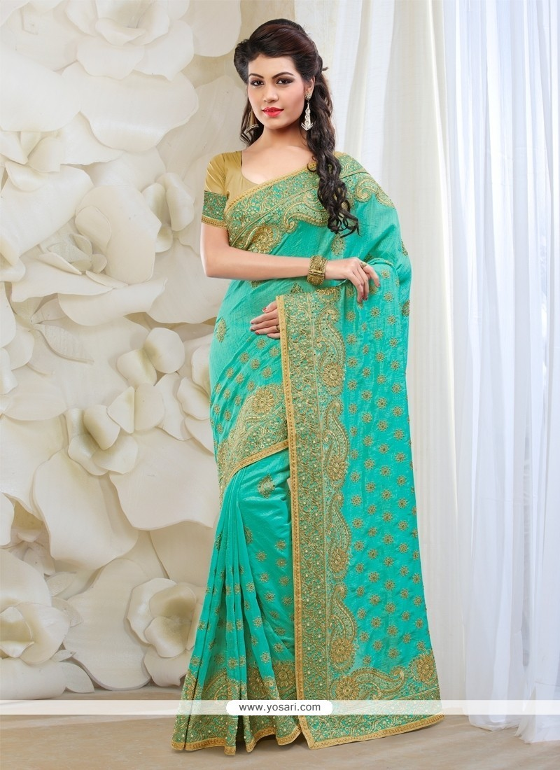 Heavenly Turquoise Silk Classic Designer Saree