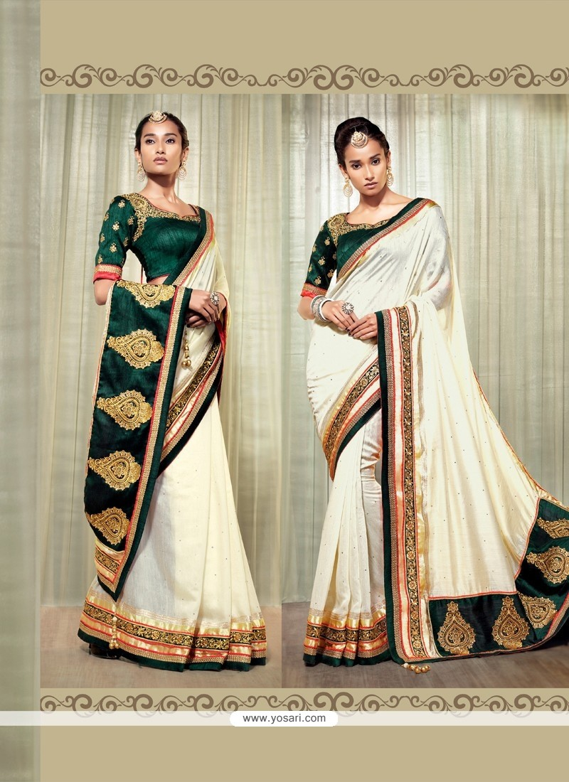 Angelic Cream Cotton Silk Designer Saree