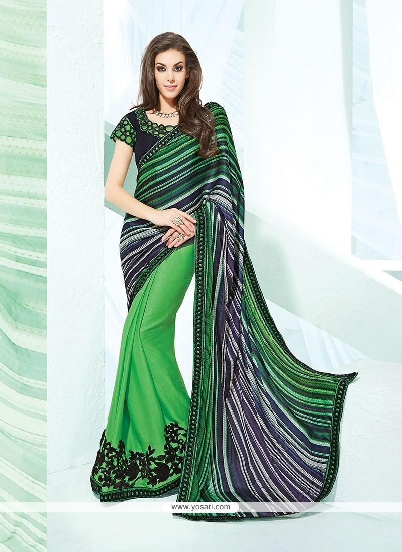 Stylish Faux Crepe Green Patch Border Work Designer Saree