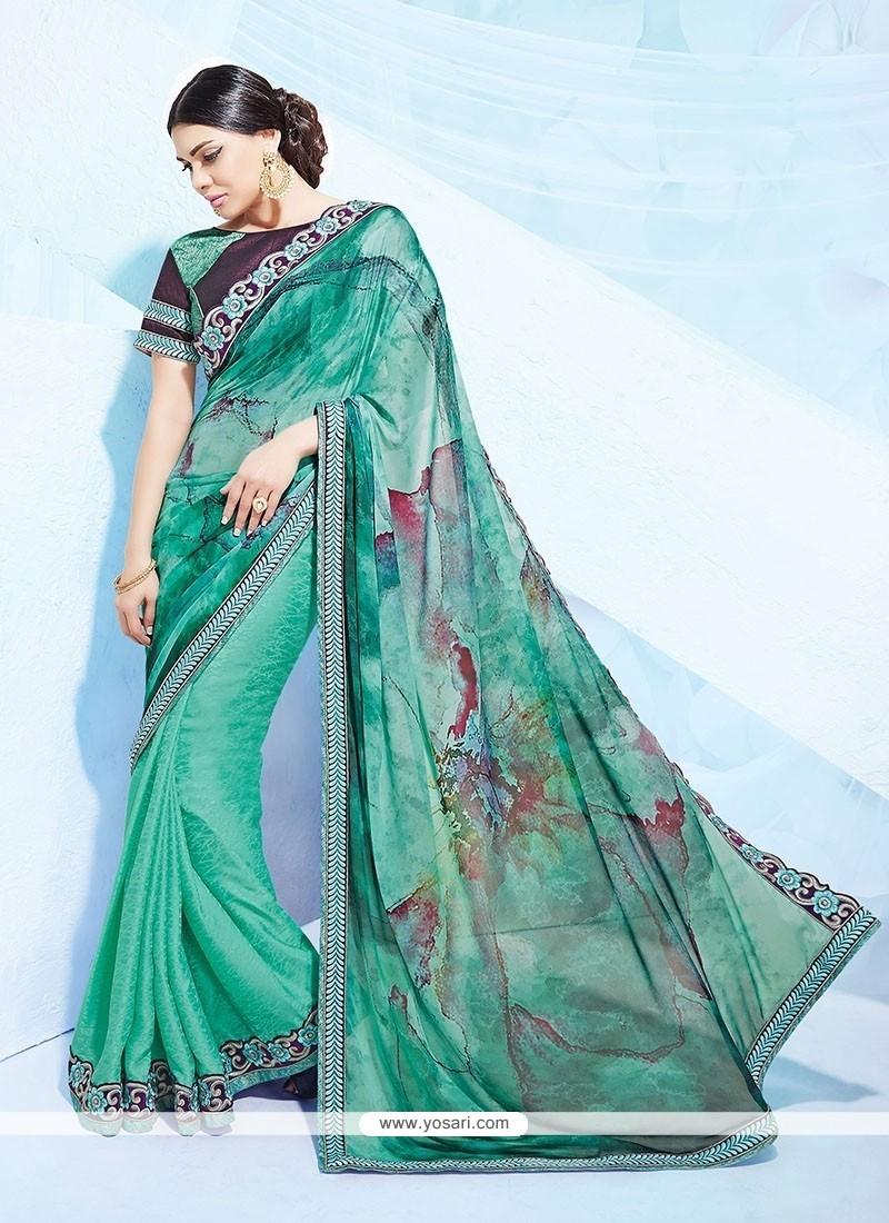 Charismatic Georgette Sea Green Designer Saree
