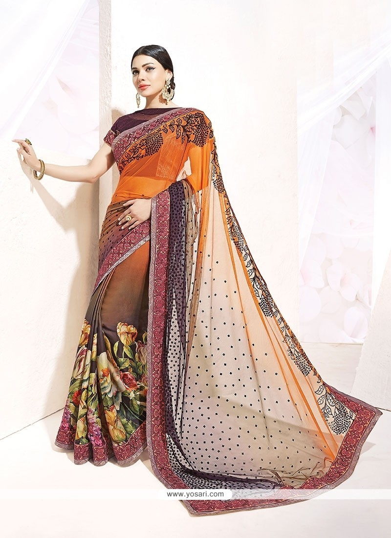 Resplendent Multi Colour Print Work Silk Designer Saree