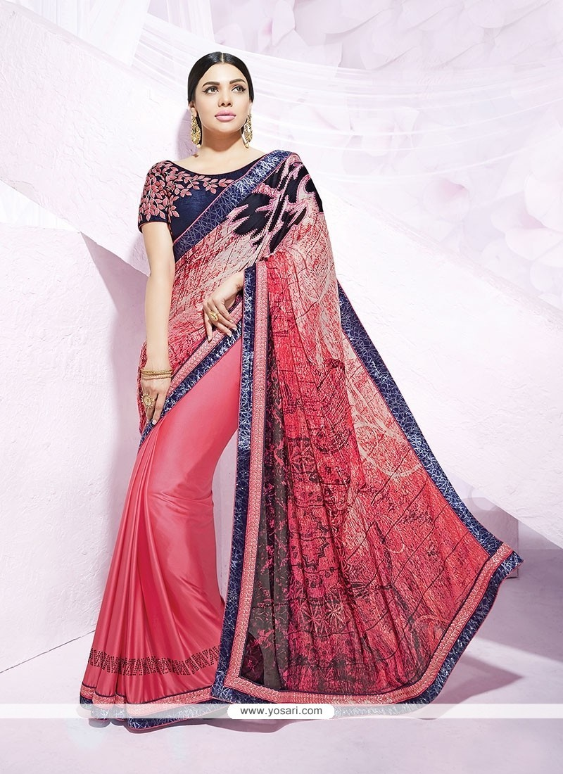 Modest Faux Crepe Multi Colour Designer Saree