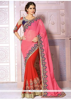 Red And Pink Georgette Half And Half Saree