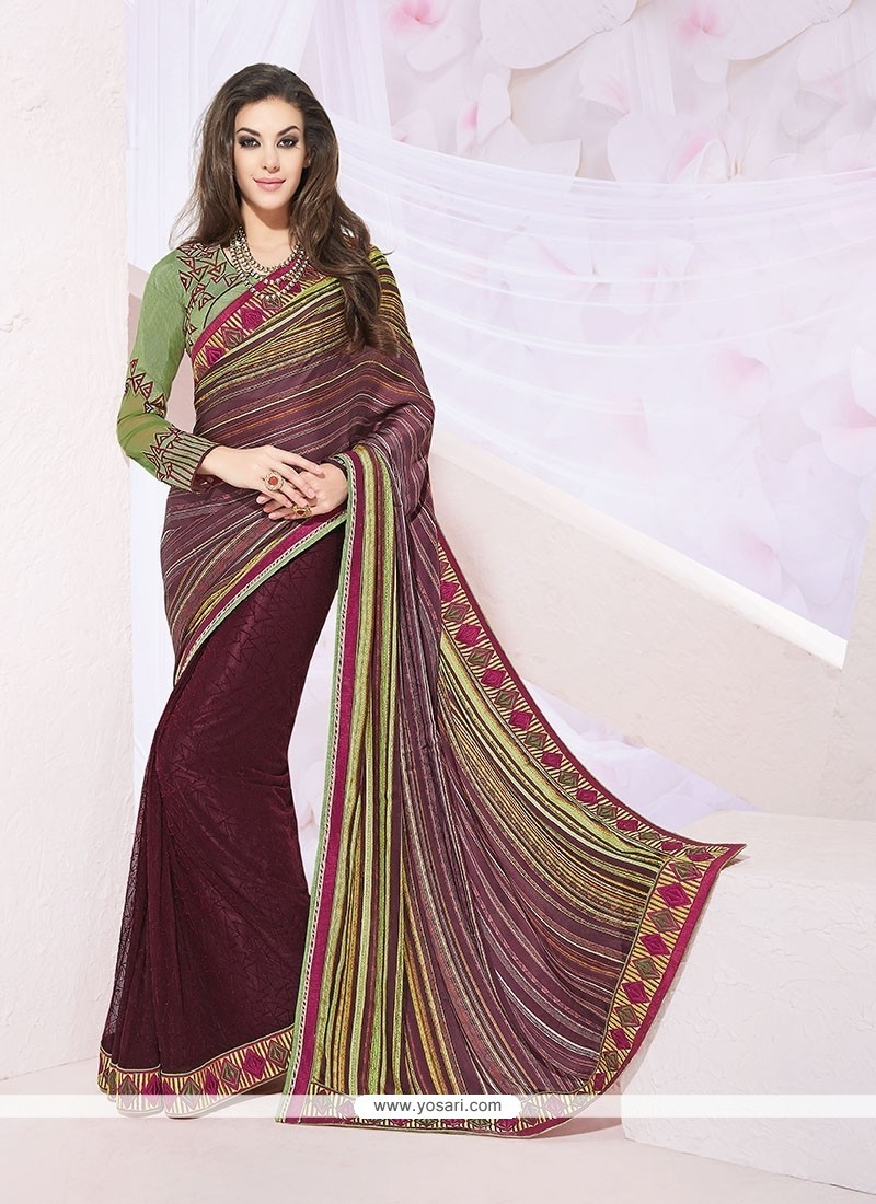 Eye-catchy Wine Jacquard Designer Saree