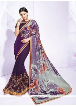 Tiptop Print Work Purple Net Designer Saree