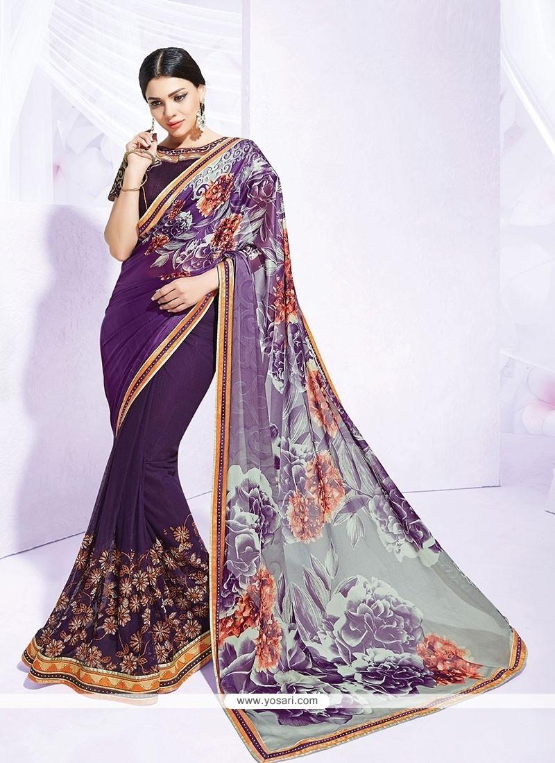 Tiptop Print Work Purple Net Designer Saree