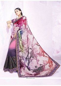 Fine Multi Colour Faux Chiffon Designer Saree