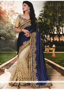Navy Blue Patch Border Work Georgette Classic Designer Saree