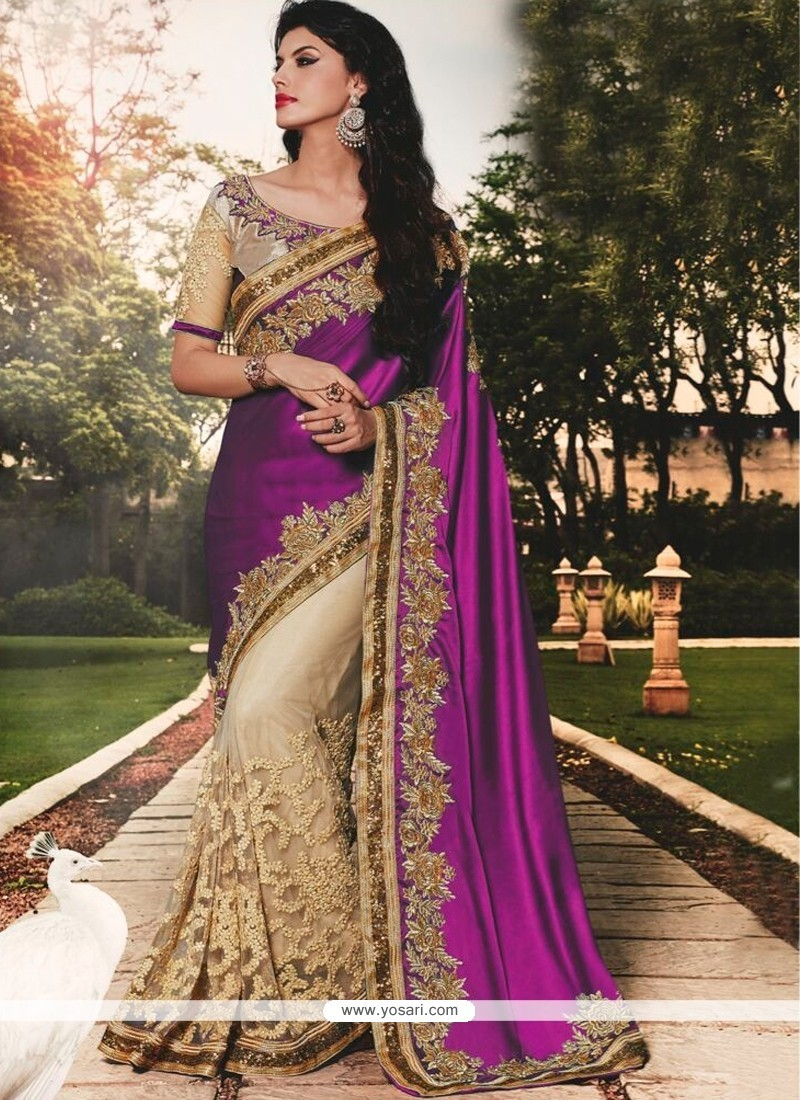 Radiant Purple Patch Border Work Classic Designer Saree
