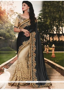 Intricate Patch Border Work Black Classic Designer Saree