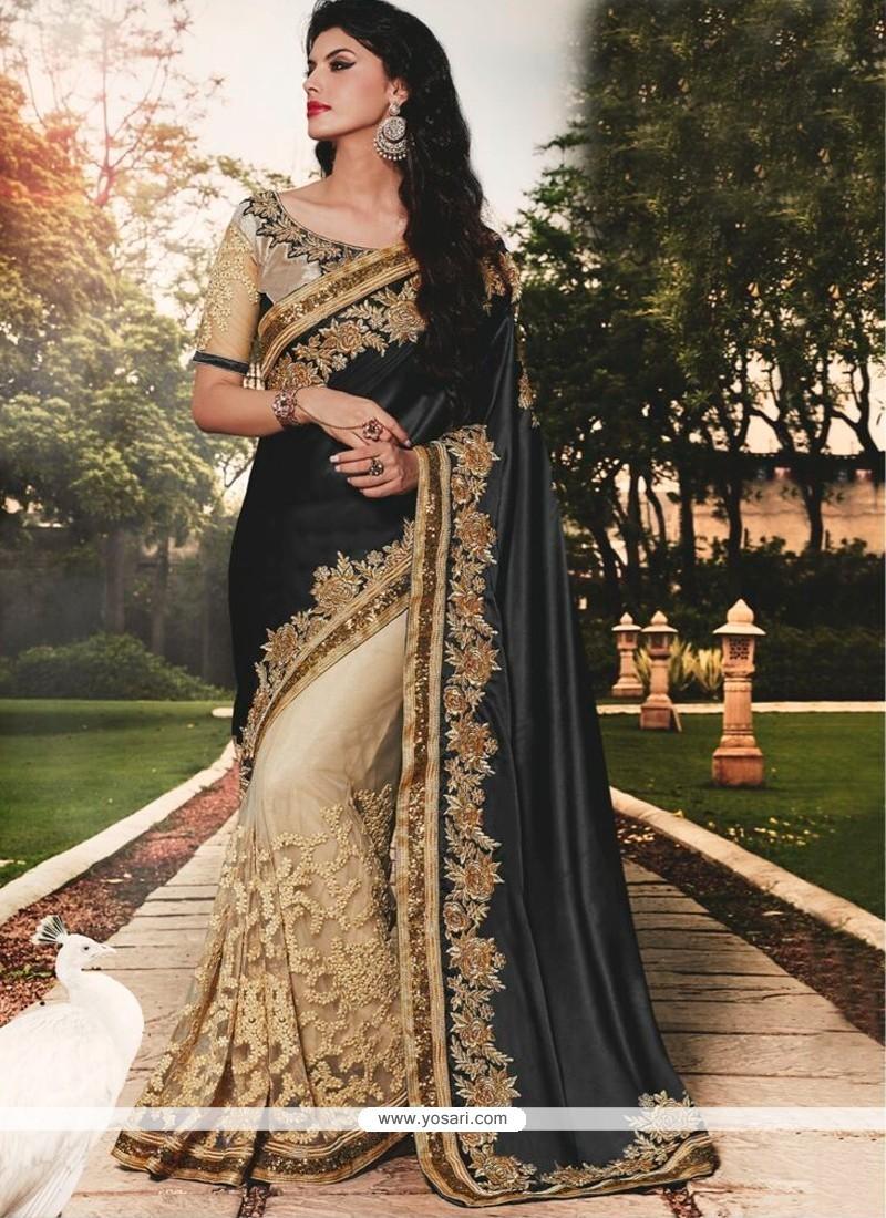 Intricate Patch Border Work Black Classic Designer Saree