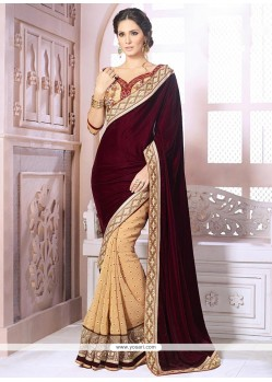 Maroon And Cream Velvet Designer Saree