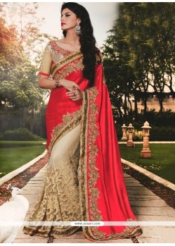 Modernistic Patch Border Work Net Classic Designer Saree
