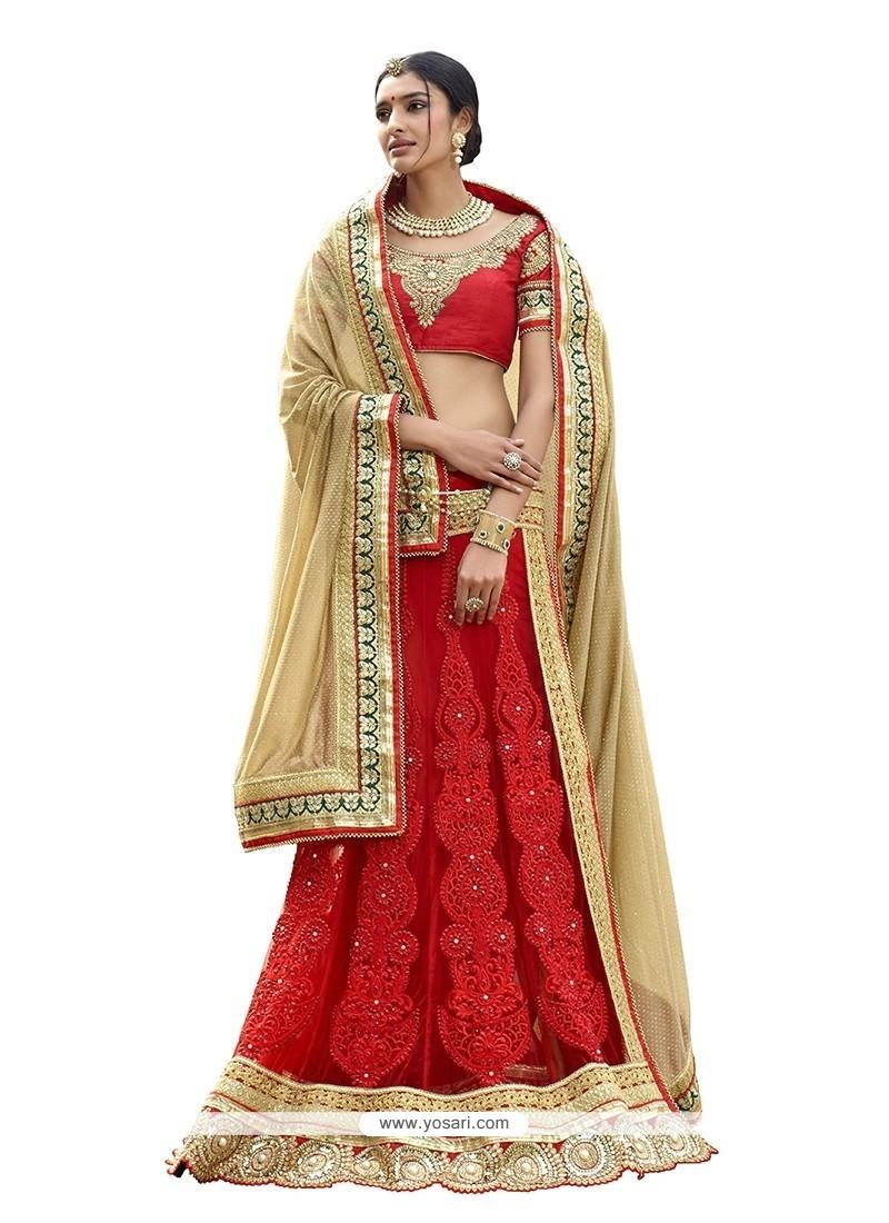 Elite Net Red Patch Border Work Classic Designer Saree