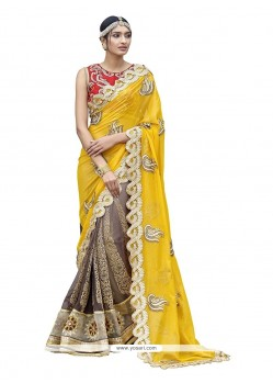 Strange Patch Border Work Georgette Classic Designer Saree