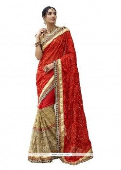Snazzy Red Patch Border Work Georgette Classic Designer Saree