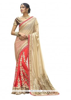 Ideal Georgette Beige And Pink Patch Border Work Classic Designer Saree