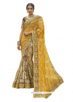 Customary Yellow Classic Designer Saree