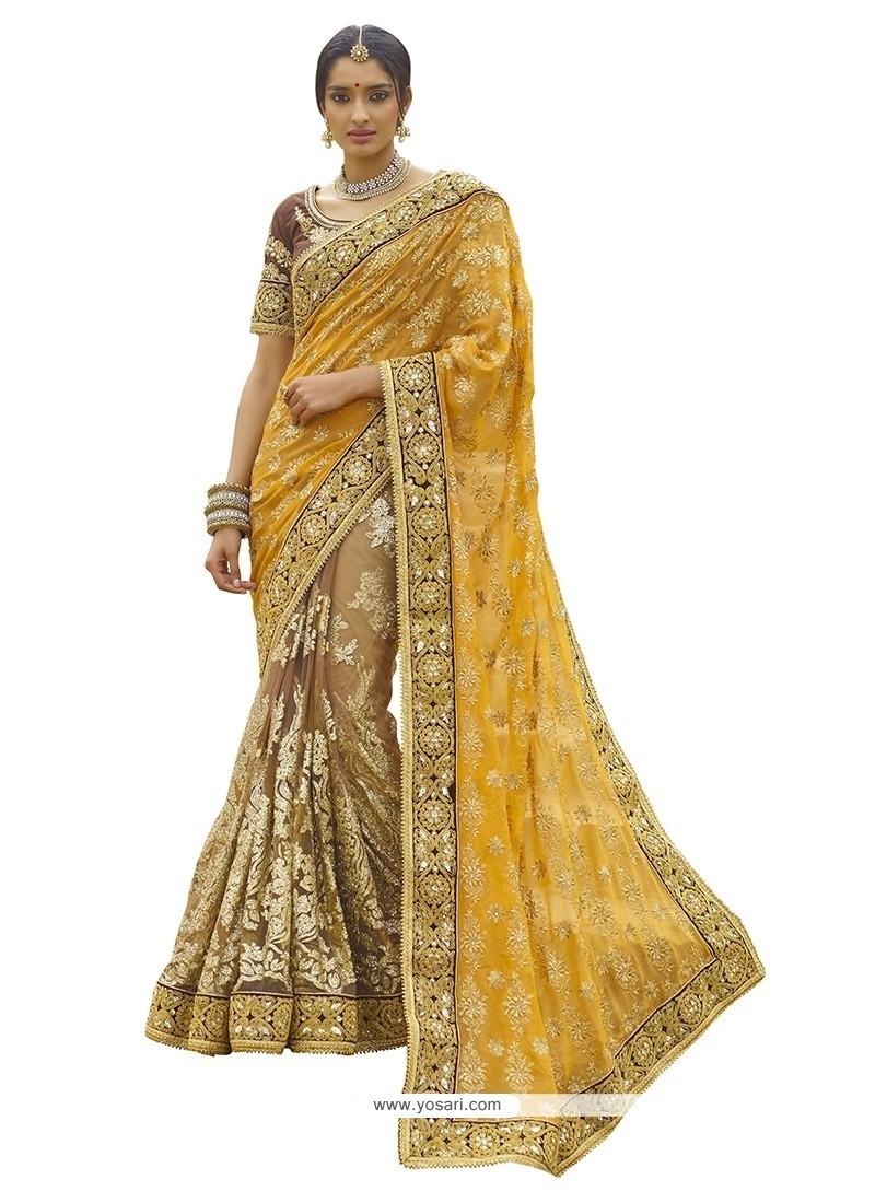 Customary Yellow Classic Designer Saree