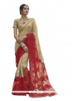 Talismanic Georgette Beige And Red Classic Designer Saree