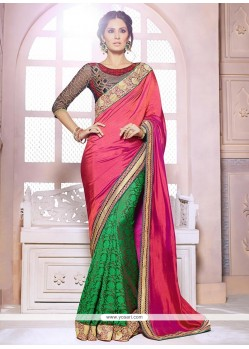 Pink And Green Georgette Half And Half Saree