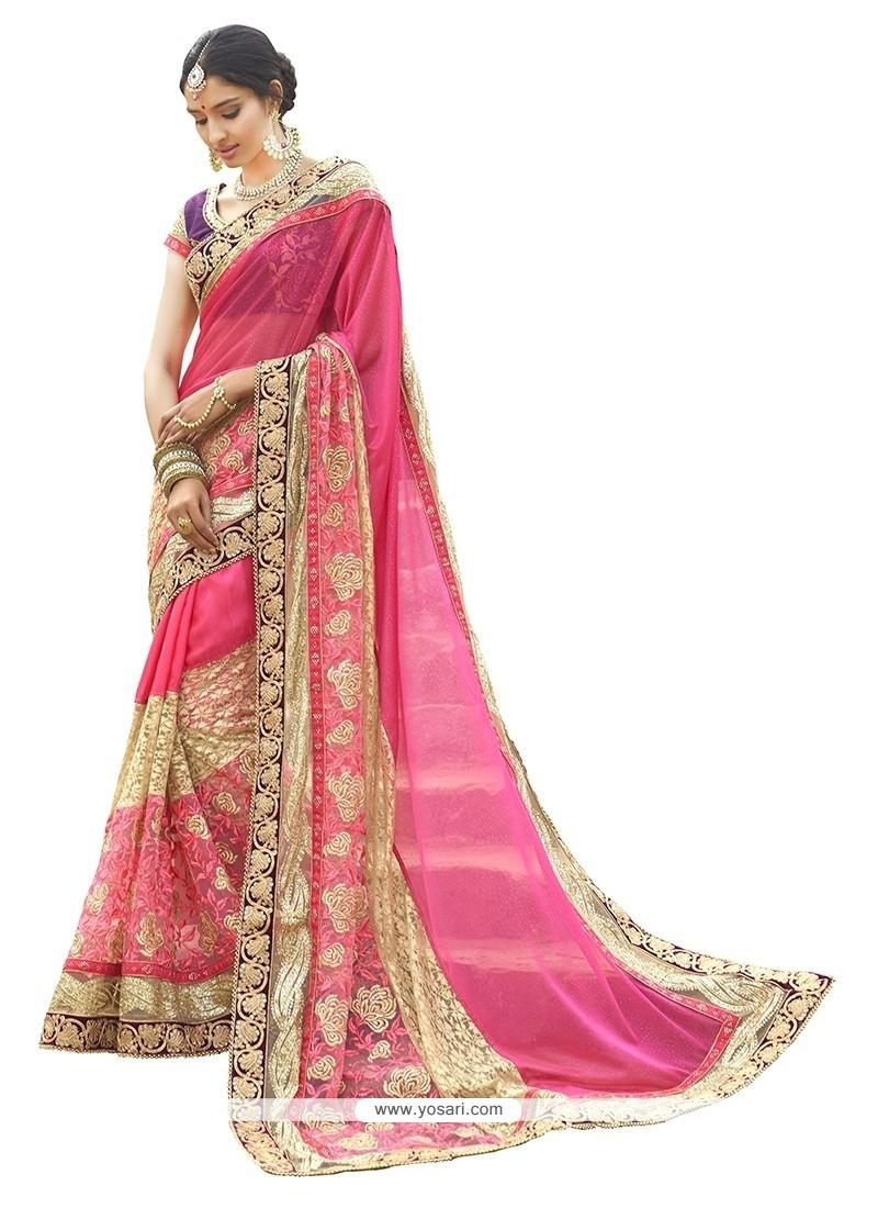 Praiseworthy Hot Pink Embroidered Work Classic Designer Saree