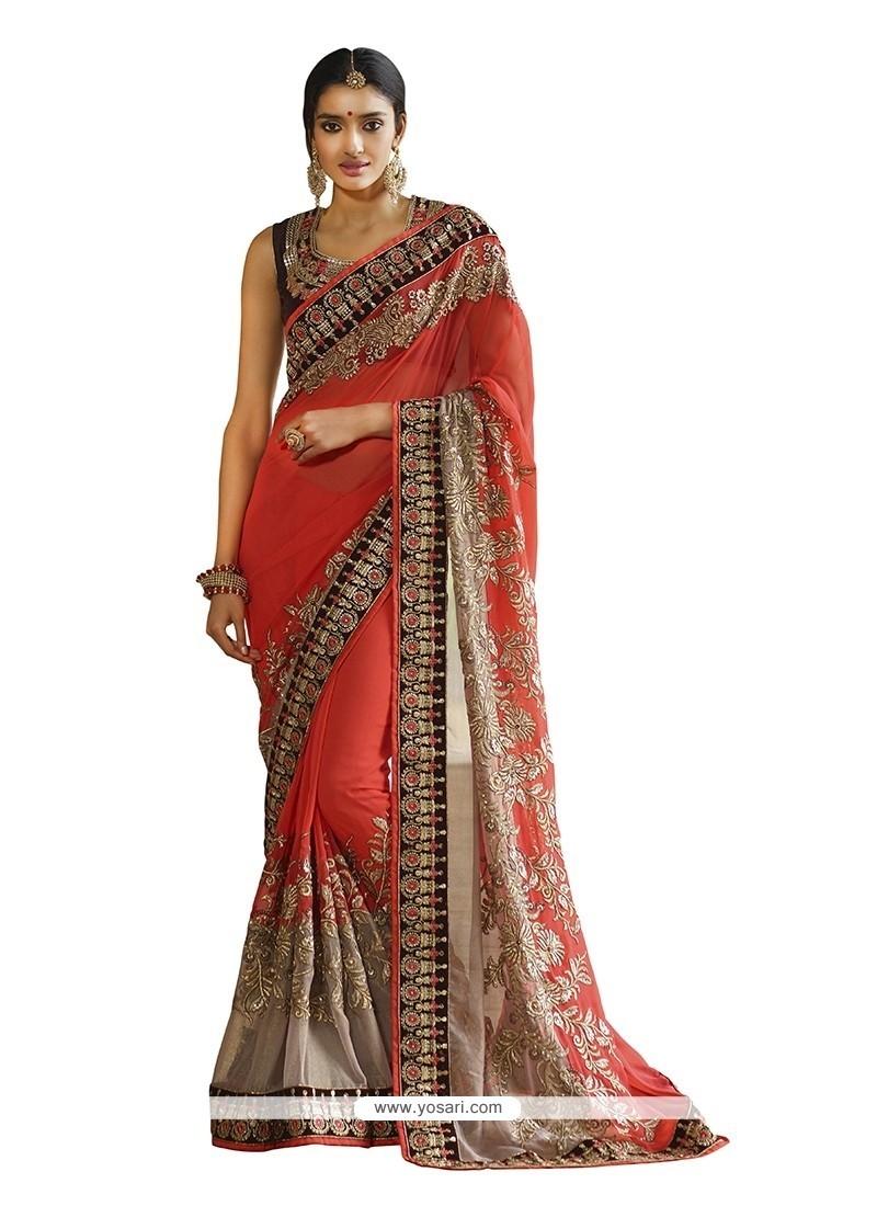 Scintillating Red Classic Designer Saree