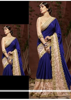 Talismanic Embroidered Work Navy Blue Faux Chiffon Designer Saree