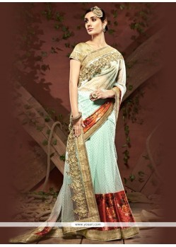 Sonorous Net Patch Border Work Designer Saree