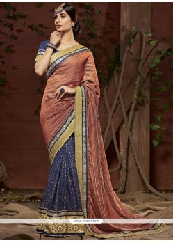 Royal Navy Blue Embroidered Work Georgette Designer Saree