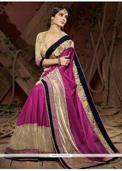 Artistic Purple Embroidered Work Faux Chiffon Designer Saree
