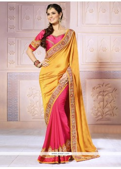 Mustard And Pink Georgette Half And Half Saree