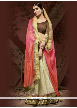 Staring Beige Embroidered Work Faux Chiffon Designer Saree