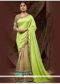 Surpassing Faux Crepe Green Designer Saree