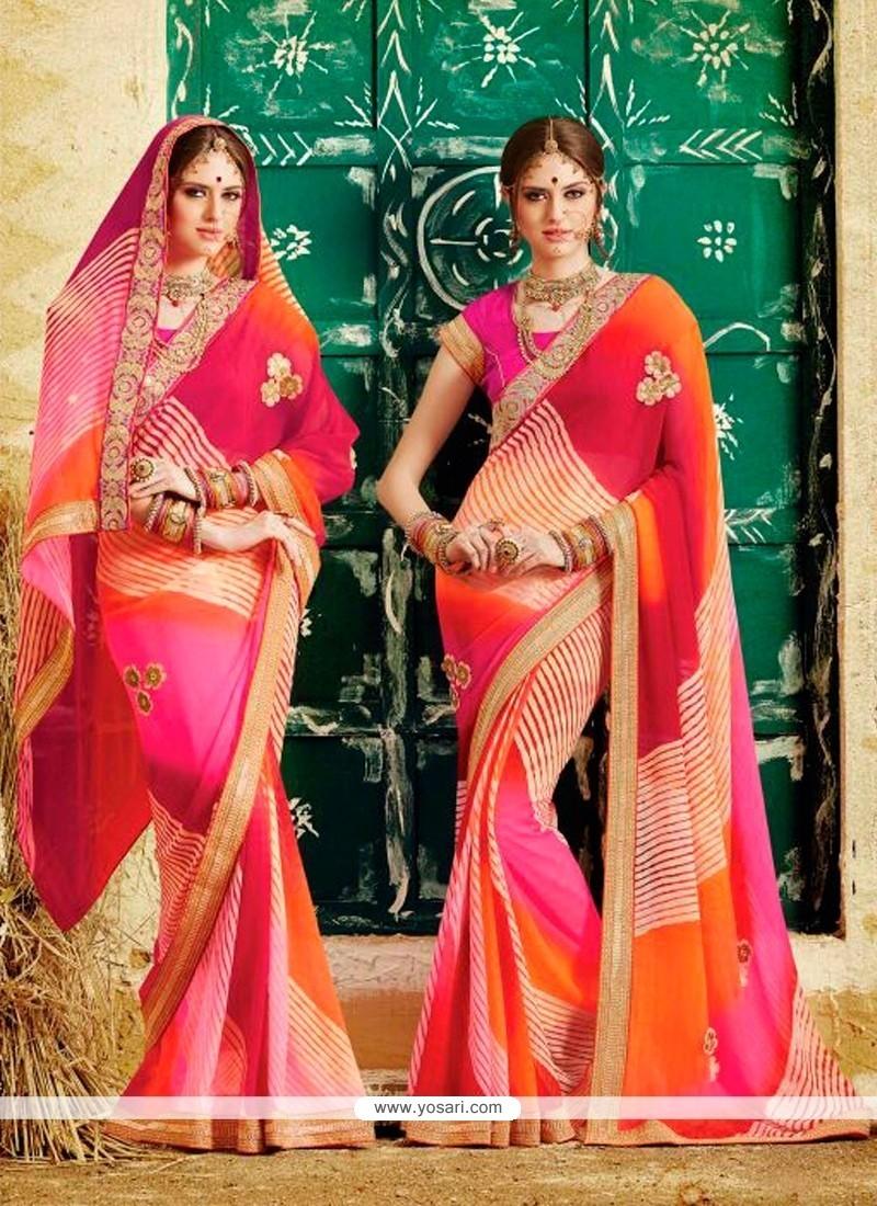 Blooming Patch Border Work Multi Colour Designer Saree