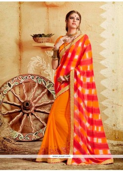 Irresistible Georgette Patch Border Work Designer Saree