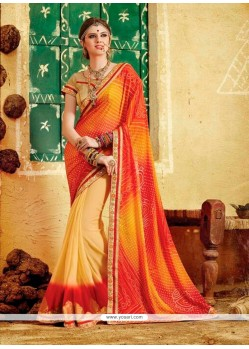 Magnificent Multi Colour Print Work Georgette Designer Saree