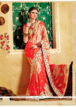 Patch Border Georgette Designer Saree In Multi Colour