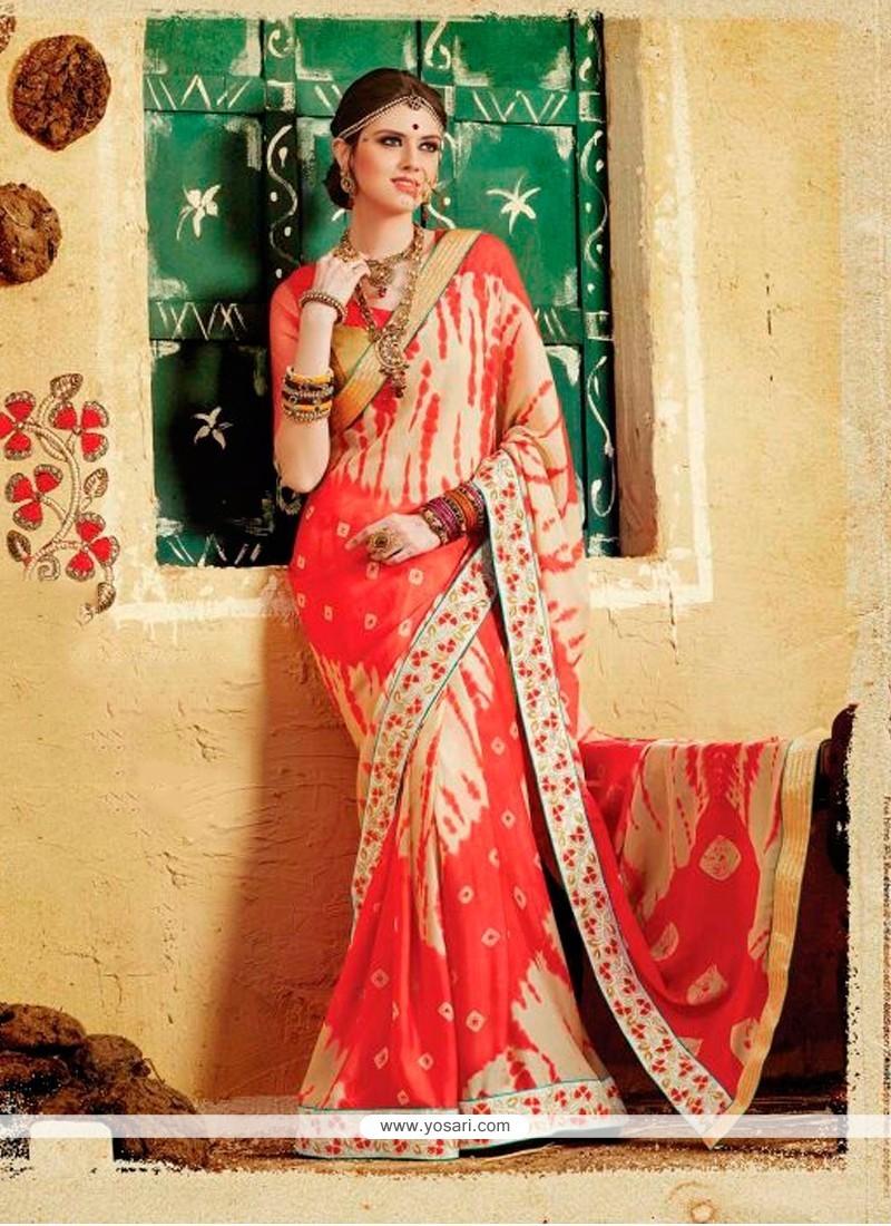 Patch Border Georgette Designer Saree In Multi Colour