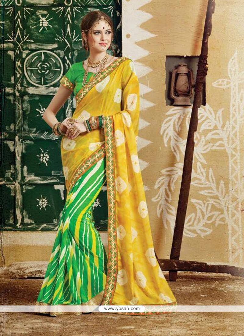 Mesmeric Green And Yellow Georgette Designer Saree