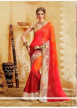 Sonorous Patch Border Work Georgette Designer Saree