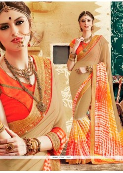 Amusing Multi Colour Print Work Georgette Designer Saree