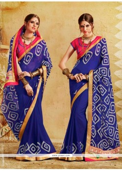 Hypnotizing Georgette Print Work Designer Saree