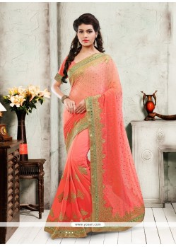 Fab Faux Chiffon Orange And Peach Designer Saree