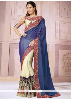 Blue And Cream Jacquard Designer Saree