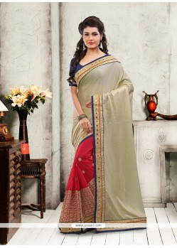 Ruritanian Georgette Patch Border Work Designer Saree