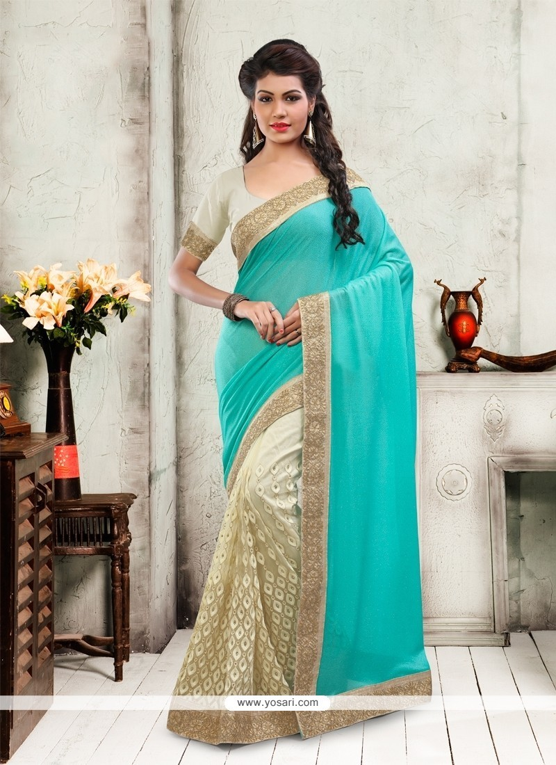 Aesthetic Net Cream Patch Border Work Designer Saree