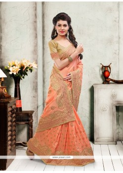 Excellent Orange Silk Designer Saree